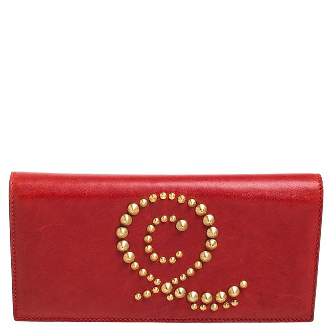 Item - Red Leather Studded Flap Clutch