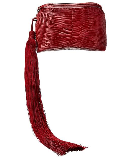 Item - Reptile-embossed Leather Pouch W1118e2 Ruby Red Wallet