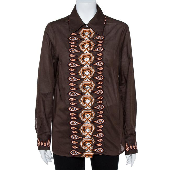 Item - Embroidered L Brown Cotton Button Front Shirt Blouse