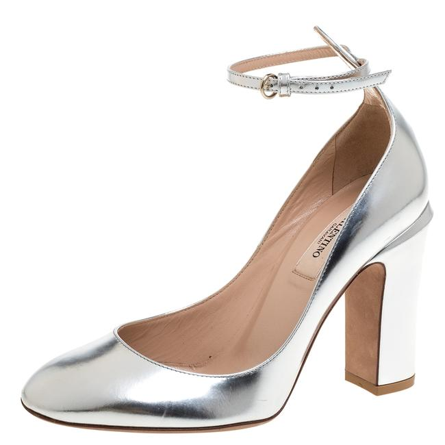Item - Tango Metallic Silver Leather Block Heel Ankle Strap Size 37 Pumps