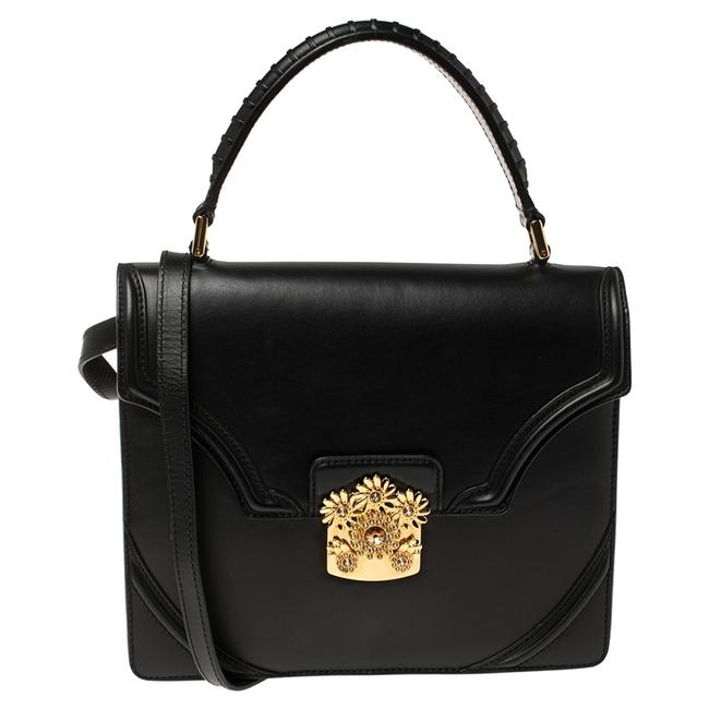 Item - Top Handle Bag Black Leather Crystal Flower Clasp Wristlet