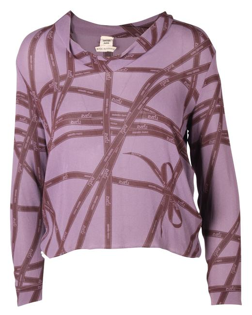 Item - Purple with Ribbon Pattern -pre Owned Condition Excellent Fr40 Blouse