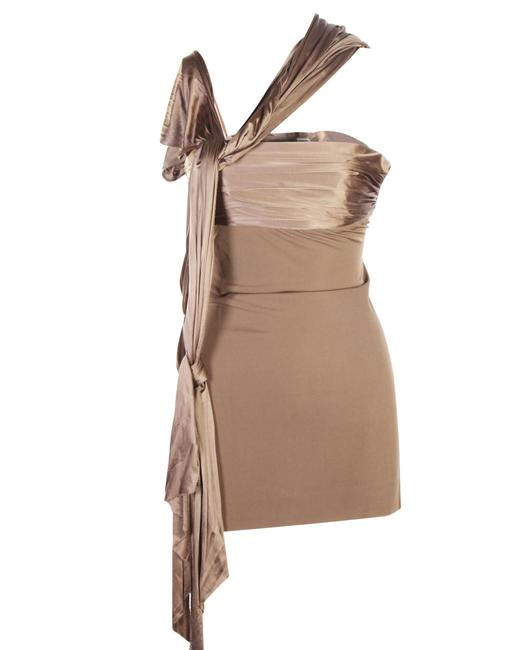 Item - Jersey Draped Tunic Top In Chestnut-coloured Viscose -pre Owned Cocktail Dress