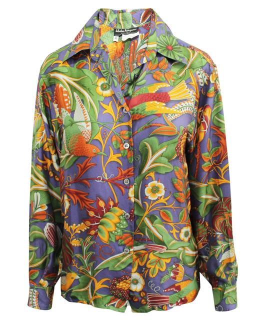 Item - Silk Colorful Printed -pre Owned Condition Tee Shirt