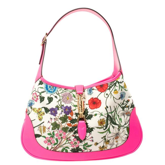 Item - Jackie Neon Pink Floral Print Canvas and Leather Hobo Bag