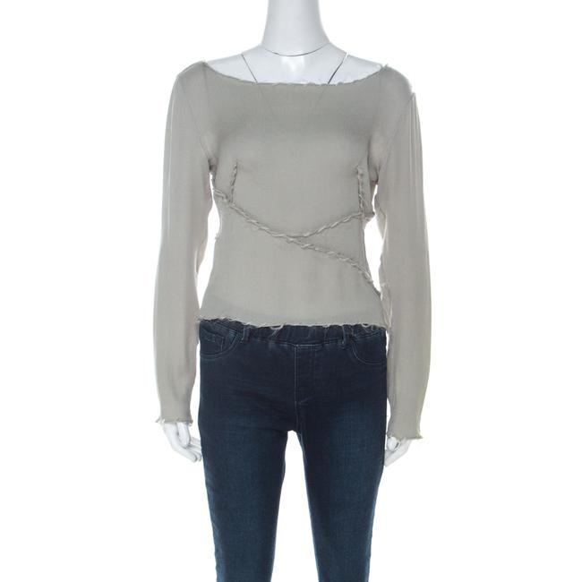 Item - Couture Sage Green Textured Silk Long Sleeve Cropped Top M Blouse