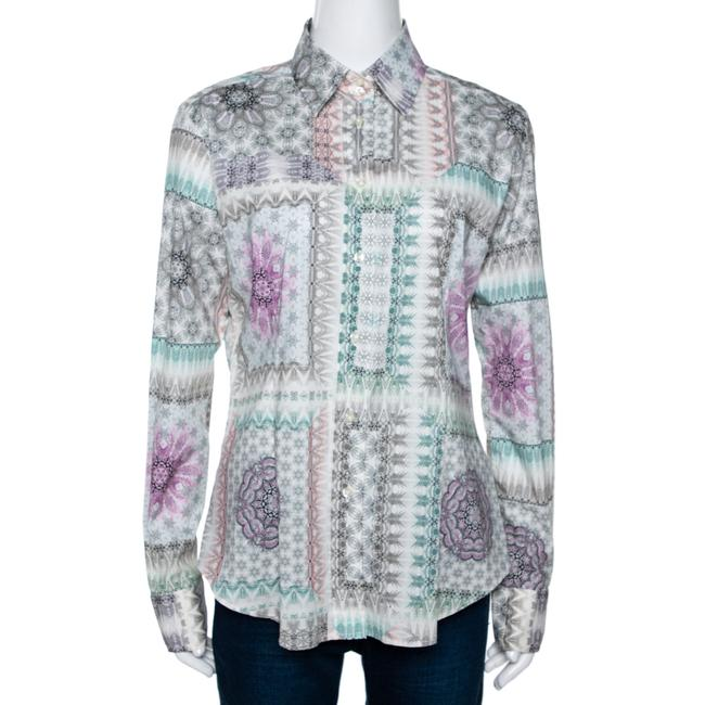 Item - L Multicolor Abstract Printed Stretch Cotton Button Front Shirt Blouse