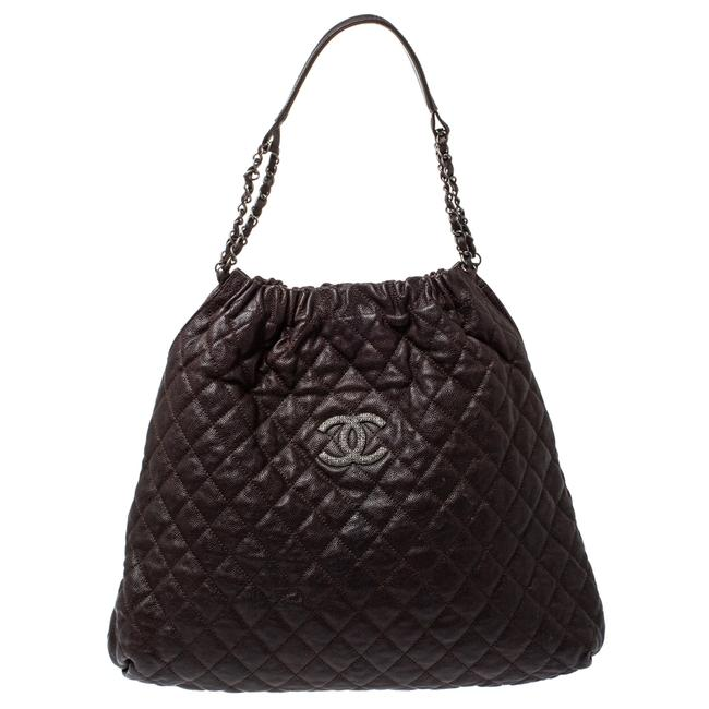 Item - Brown Quilted Leather Cc Chain Hobo Bag