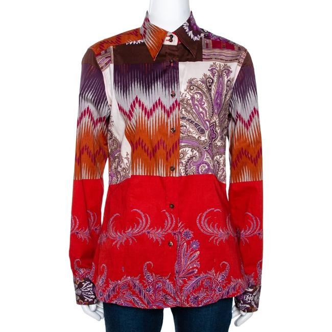 Item - L Orange & Fuschia Ikat Floral Printed Stretch Cotton Button Front Shirt Blouse