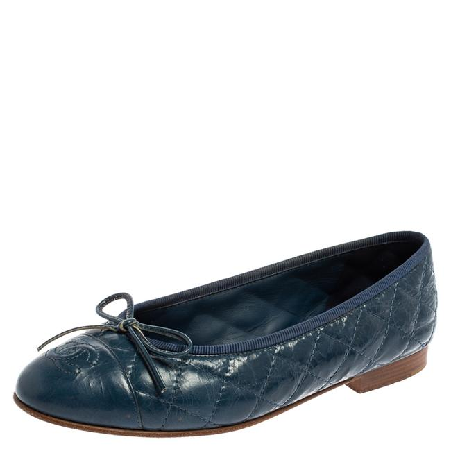 Item - Blue Quilted Leather Cc Bow Ballet Size 35.5 Flats