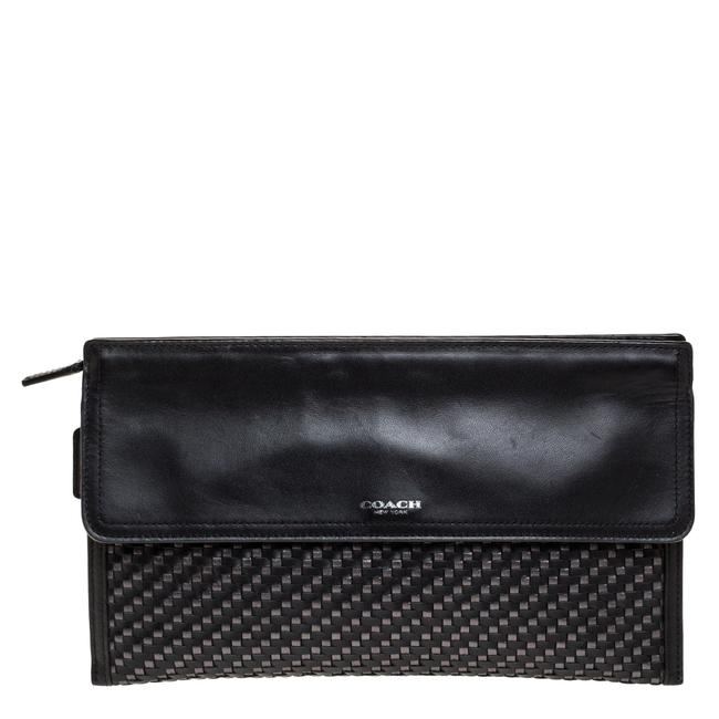 Item - Black/Grey Woven Leather Flap Clutch