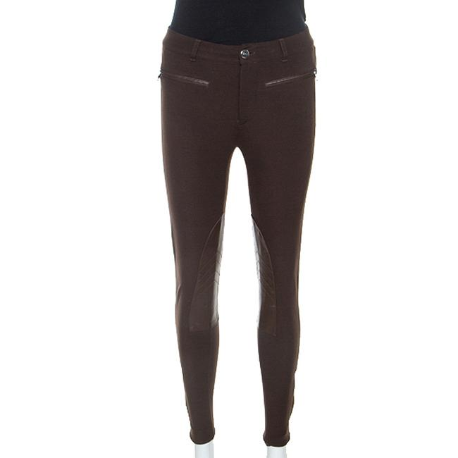 Item - Brown Stretch Knit Leather Detail Leggings S Pants