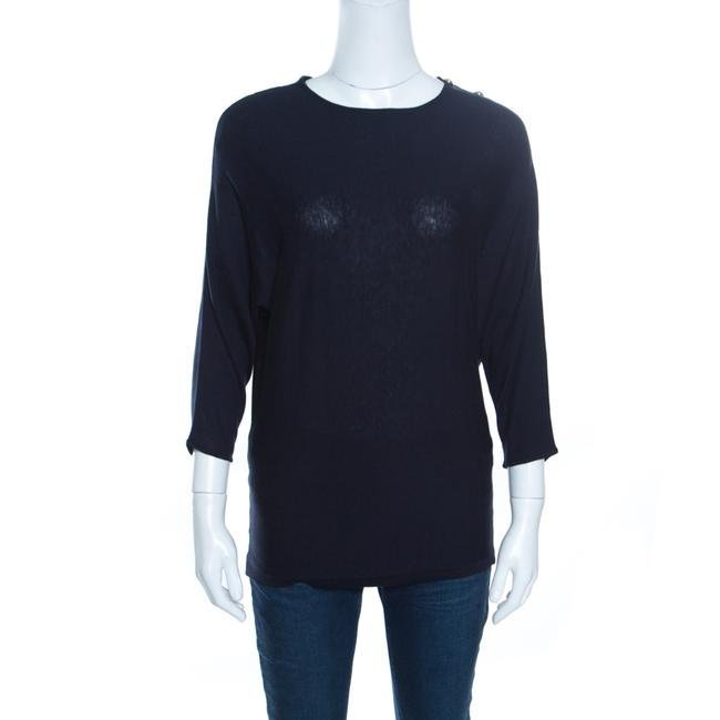 Item - XS Navy Blue Knit Gold Button Detail Dolman Sleeve Top Blouse