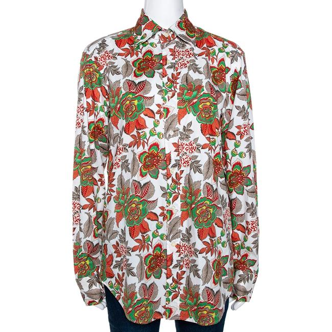 Item - White & Red Floral Printed Stretch Cotton Button Front Shirt M Blouse
