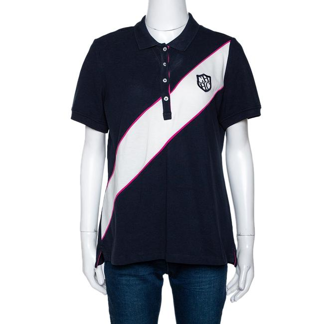 Item - L Tricolor Knit Diagonal Panel Logo Embroidered Polo T-shirt Tee Shirt