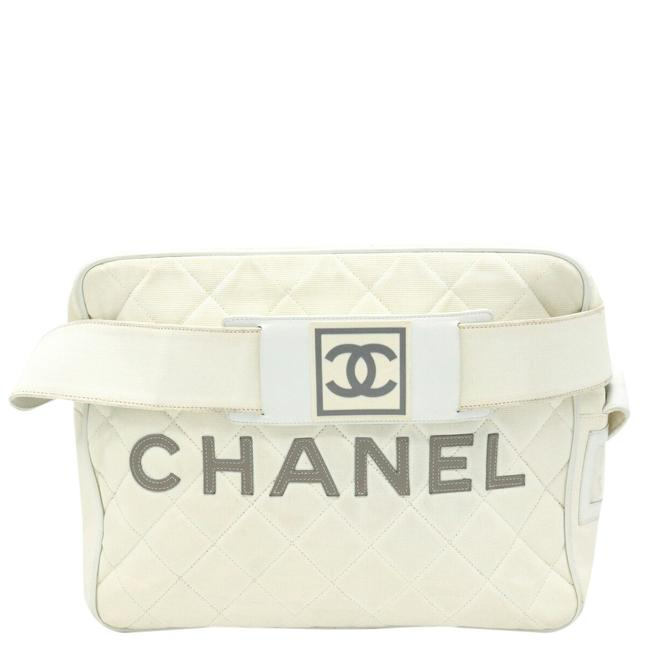 Item - Waist Bag White Leather Sports Line Wristlet
