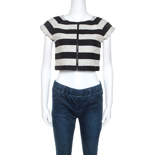 Item - Bicolor Striped Knit Lurex Detail Amy Crop Blouse
