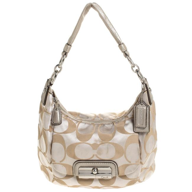 Item - Beige/Gold Canvas and Leather Kristin Hobo Bag