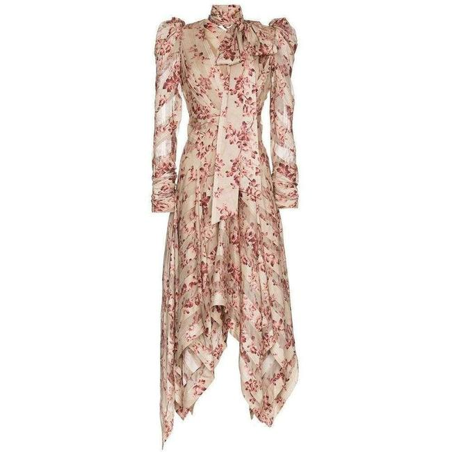 Item - Floral Printed and Neck Tie Silk-blend Short Casual Dress
