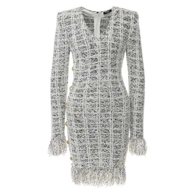Item - Checked Fringed Wool Blend Fr 36 Short Casual Dress