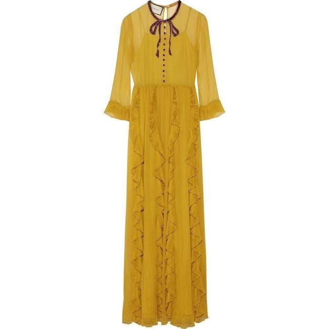 Item - Yellow Silk Chiffon Embroidered Gown It 38 Cocktail Dress