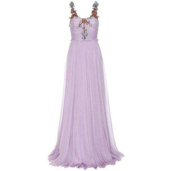 Gucci Purple Silk Chiffon Embroidered Gown It 38 Cocktail Dress Gucci Purple Silk Chiffon Embroidered Gown It 38 Cocktail Dress Image 1