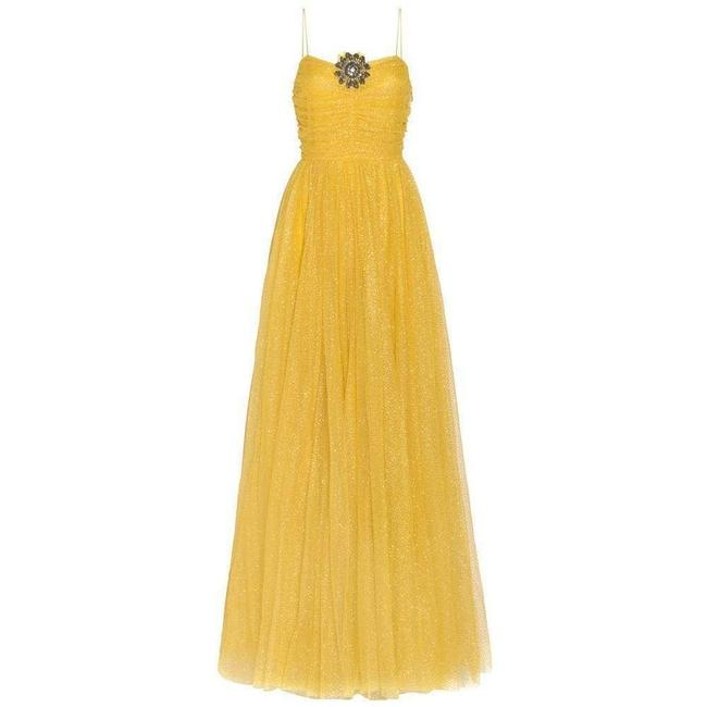 Gucci Yellow Glitter Tulle Gown It 38 Cocktail Dress Gucci Yellow Glitter Tulle Gown It 38 Cocktail Dress Image 1