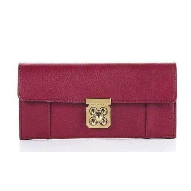 Chloé Elsie Burgundy Leather Long with Flap Fr Wallet Chloé Elsie Burgundy Leather Long with Flap Fr Wallet Image 1