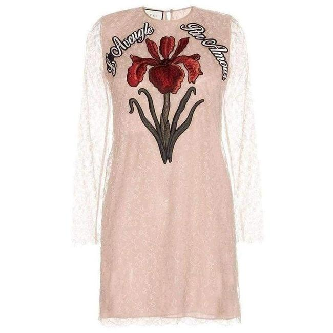 Item - Nude Lace Embroidered It 38 Cocktail Dress