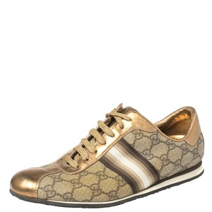 Gucci Beige/Gold Supreme Canvas and Leather Web Low Top Sneakers Size 39 Athletic