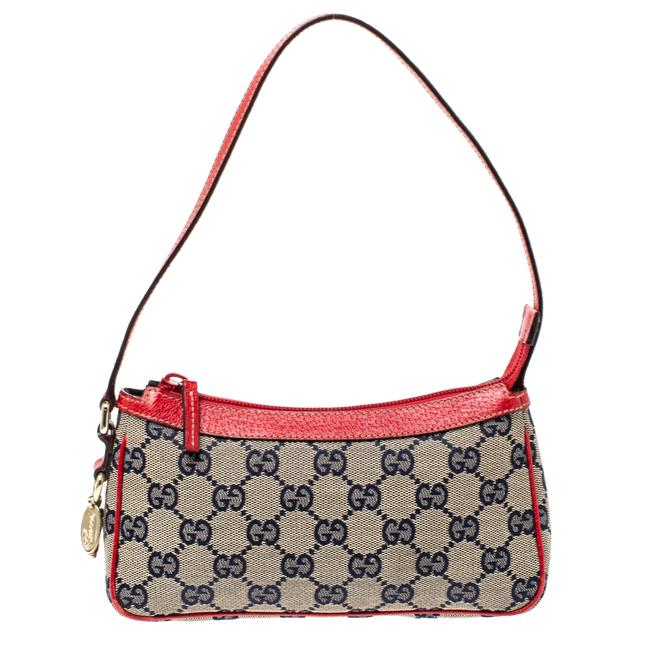 Item - Red/Beige Gg Canvas and Leather Charm Pochette Bag Clutch