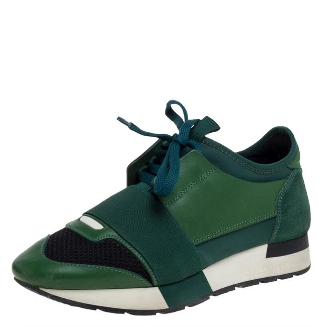 Item - Green/Black Mesh and Suede Leather Race Runner Low Top Sneakers Size 36 Athletic