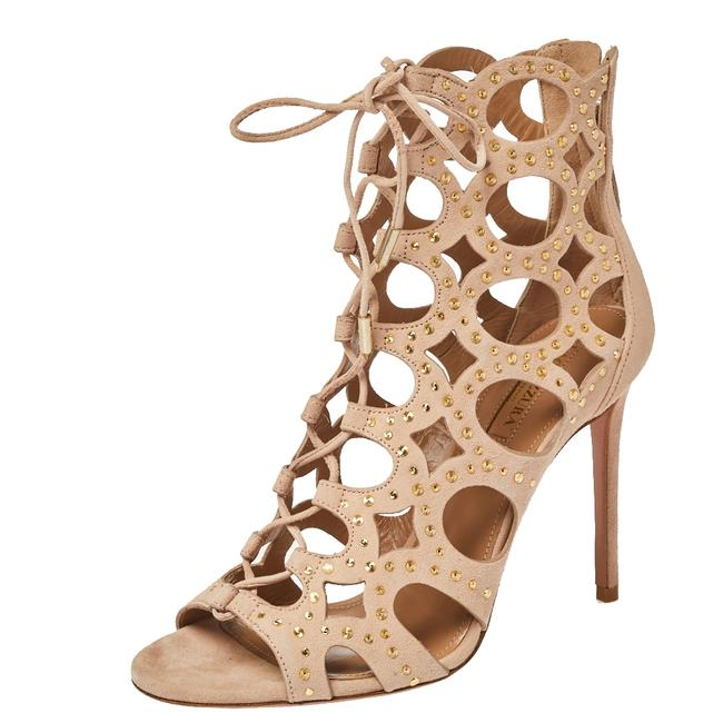 Item - Beige Suede Leather Begum Studded Cut Out Open Toe Ankle Size 37 Boots/Booties