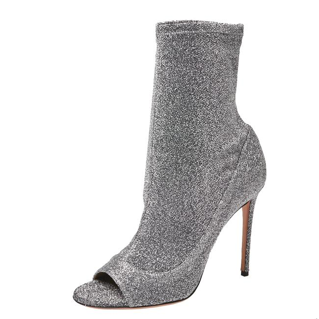 Item - Silver Glitter Lurex Fabric Eclair Ankle Size 40 Boots/Booties