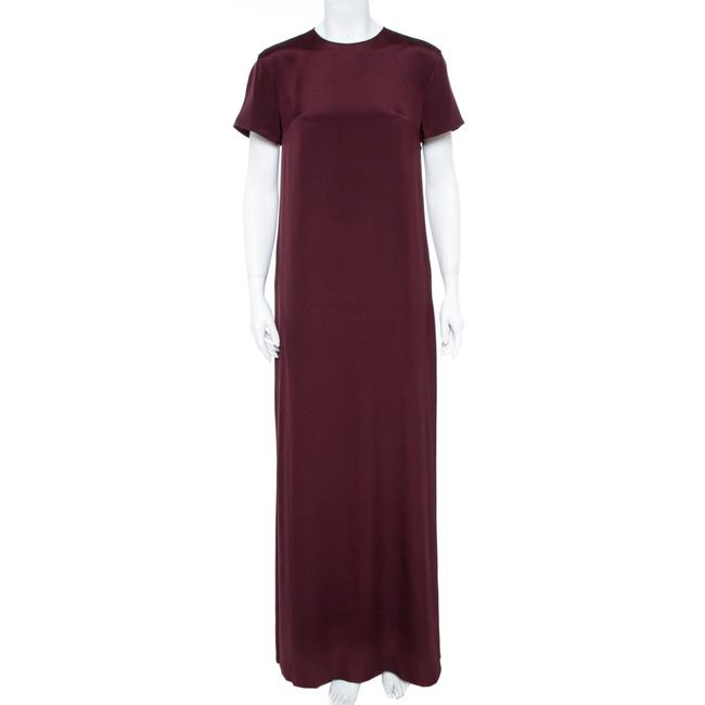 Item - Burgundy Silk Drap Paneled Casual Maxi Dress