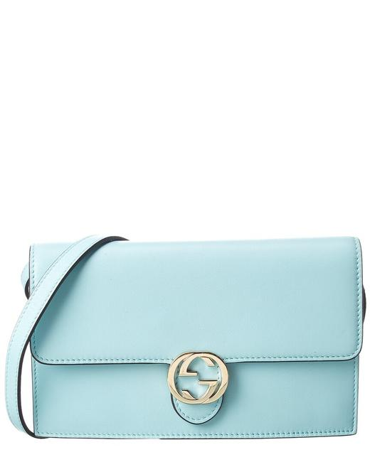 Item - Wallet on Chain Pre-owned Light Blue Leather 1955547 Tote