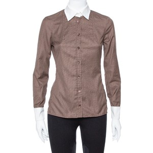 Gucci Brown Cotton Contrast Collar Long Sleeve Shirt S Blouse