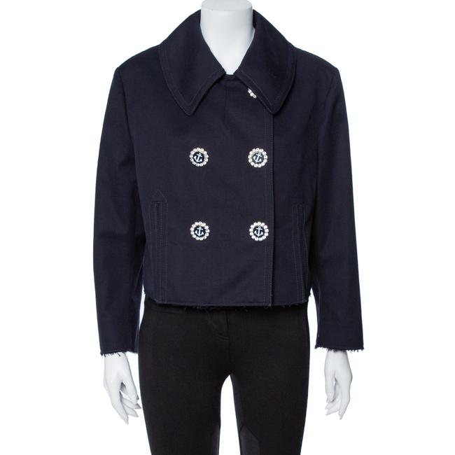 Item - L Dolce & Gabbana Navy Blue Cotton Double Breasted Cropped Jacket