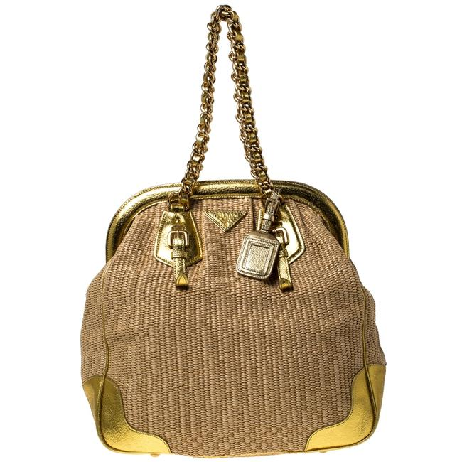 Item - Beige/Gold Woven Raffia and Leather Frame Satchel