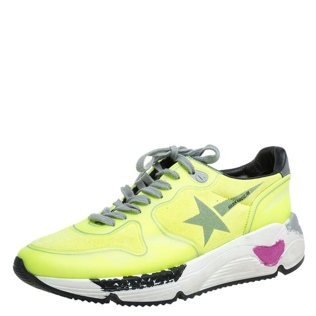 Item - Neon Green Pvc and Suede Leather Low Top Sneakers Size 38 Athletic