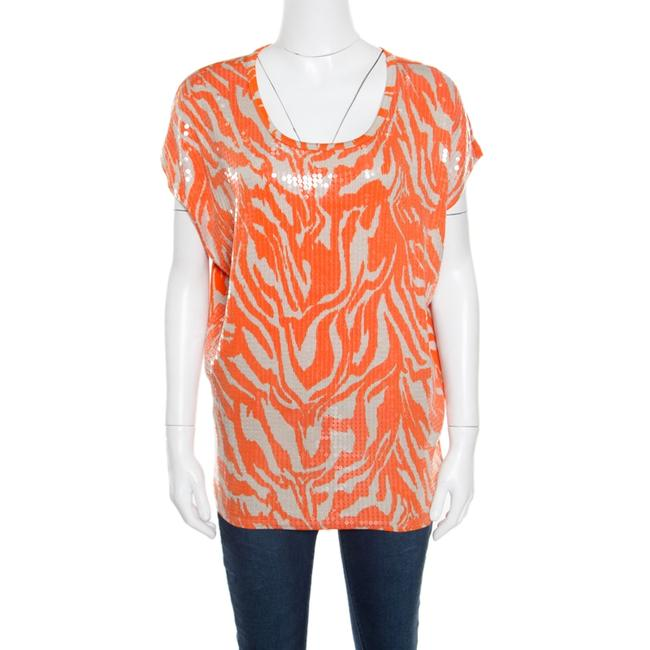 Item - Orange and Beige Zebra Printed Sequined Top M Blouse