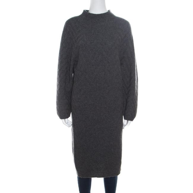 Item - Grey Chevron Patterned Cashmere Knit High Neck Dress S Sweater/Pullover