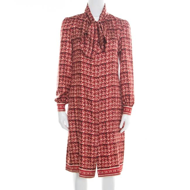 Item - Red Abstract Printed Silk Button Front Dress S Tunic