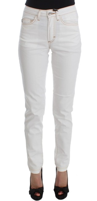 Roberto Cavalli White Cotton Blend Slim Fit Jeans Pants Roberto Cavalli White Cotton Blend Slim Fit Jeans Pants Image 1
