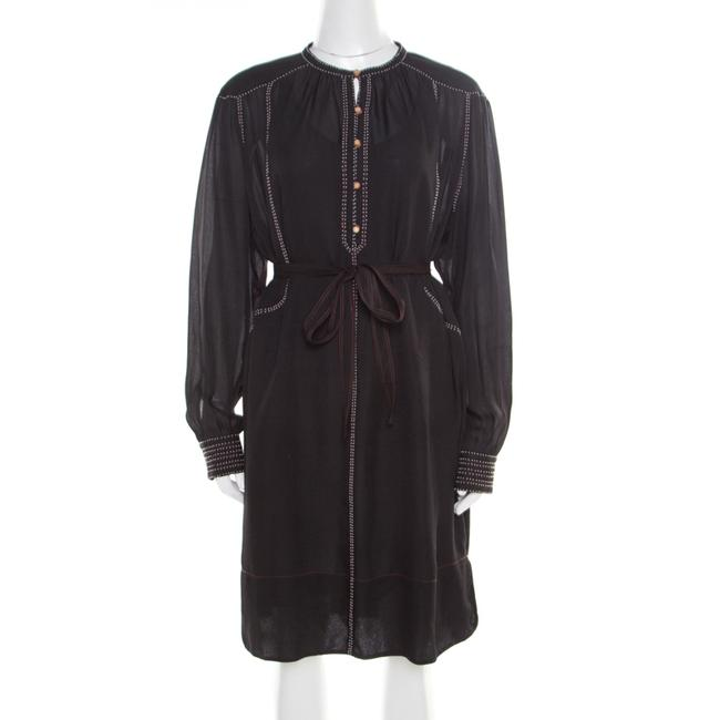 Item - Black Silk Beaded Belted Long Sleeve Dress M Belt