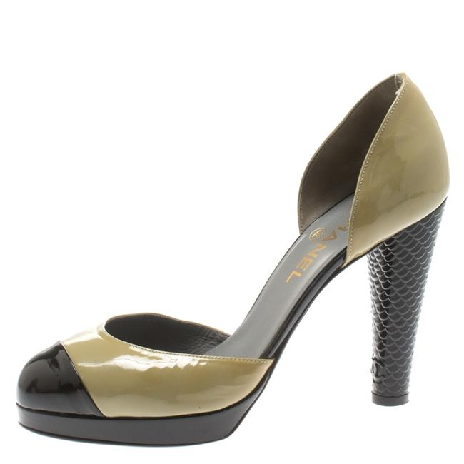 Item - Olive Green and Black Patent Leather Cap Toe D'orsay Size 40 Pumps