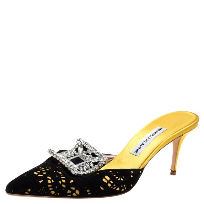 Item - Yellow/Black Satin and Laser Cut Suede Borli Crystal Embellished Mules Size 39.5 Sandals