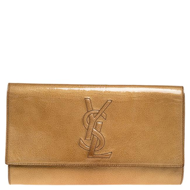 Item - Belle de Jour Yves Cream Patent Leather Flap Clutch