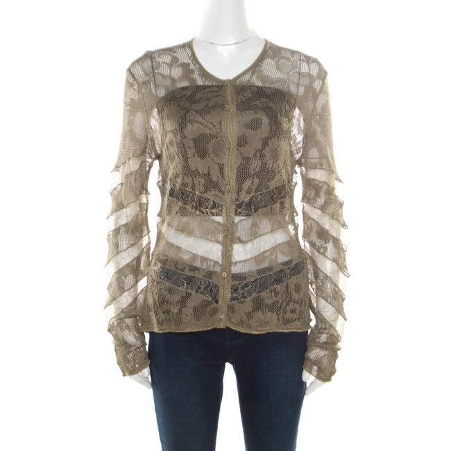 Item - L Boutique Lace Olive Green Perforated Knit Lace Insert Buttoned Cardigan