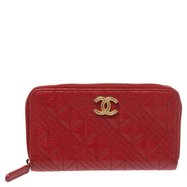 Item - Red Caviar Leather Cc Zip-around Wallet